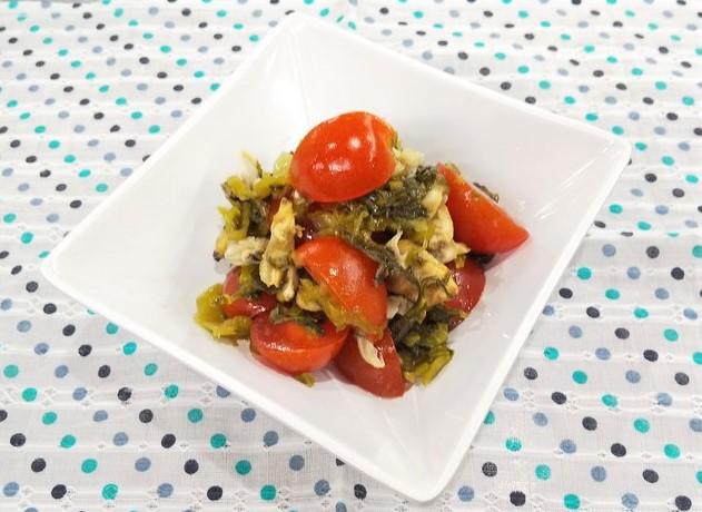あさりとトマトの高菜和え